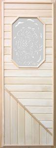 Дверь для бани деревянная DoorWood с 8-ми угольным стеклом