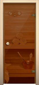 """Стеклянная дверь для бани и сауны AKMA """"Кноб"""" 700*1900"""