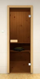 Стеклянная дверь для бани и сауны ALDO Sauna Market бронза 700*1900, коробка - осина