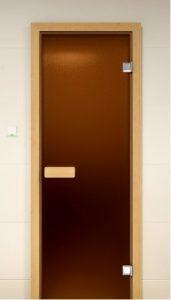Стеклянная дверь для бани и сауны ALDO Sauna Market бронза матовая 700*1900, коробка - сосна