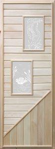 Дверь для бани деревянная DoorWood с 2-мя прямоугольными стеклами