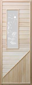 Дверь для бани деревянная DoorWood с прямоугольным стеклом