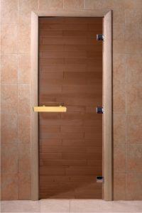 Стеклянная дверь для бани и сауны DoorWood бронза прозрачная 6мм, 700x1900, коробка ольха.