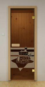 """Стеклянная дверь для бани и сауны ALDO Sauna Market """"Банный День"""" бронза 700*1900, коробка - осина"""