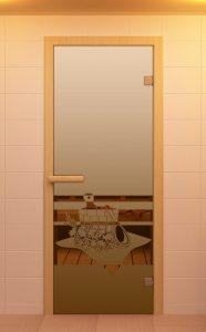 """Стеклянная дверь для бани и сауны ALDO Sauna Market """"Банный Вечер"""" бронза 700*1900, коробка - осина"""